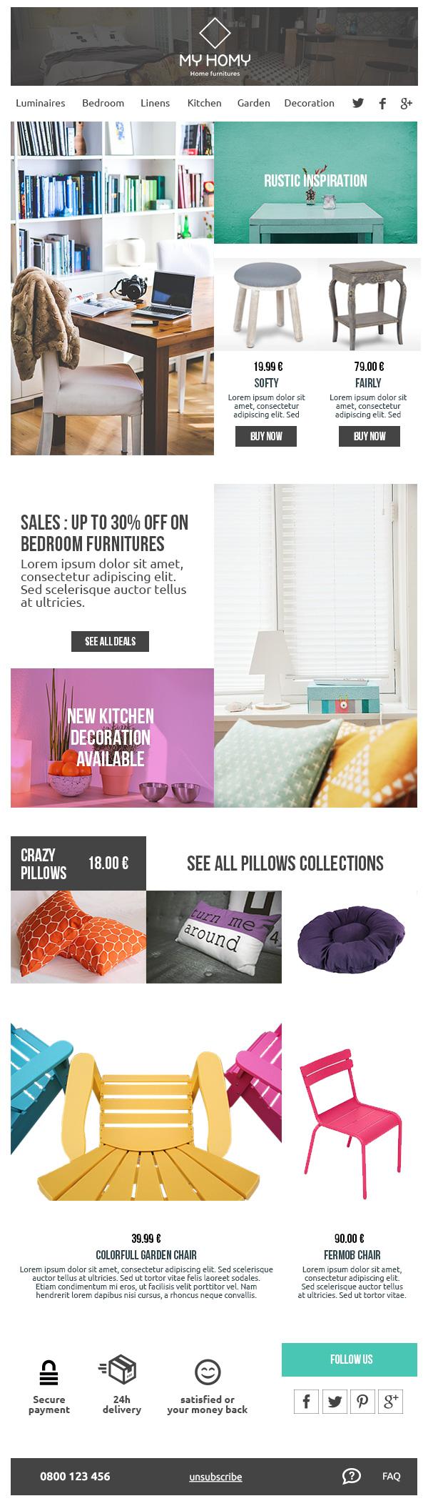 """Template """"e-commerce"""" pour Mailjet"""