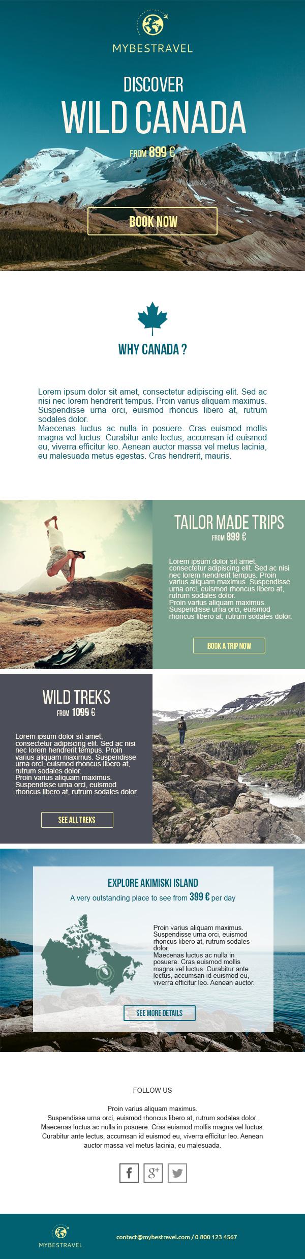 """Template """"vacances et destinations"""" pour Mailjet"""