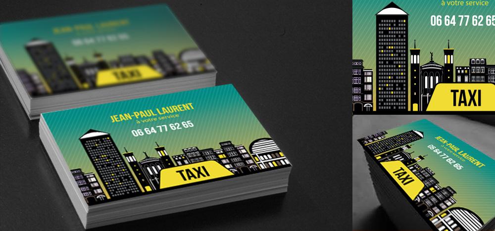 Creation Dune Carte De Visite Pour Un Chauffeur Taxi Lyonnais Avec Une Representation Des Monuments Lyon Les Plus Connus Comme La Tour Part